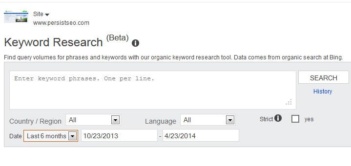 Bing keyword tool - PersistSEO, LLC