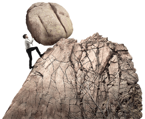 persistence - man pushing rock